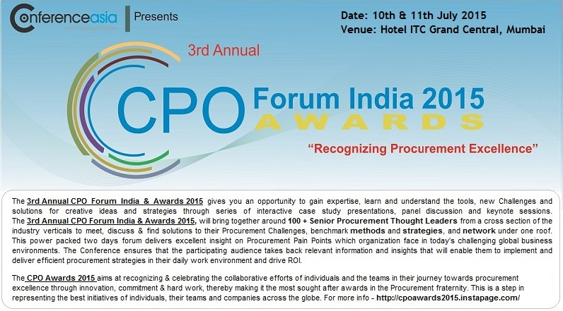 3rd Annual CPO Forum India & Awards 2015 - 10 and 11 July 2015