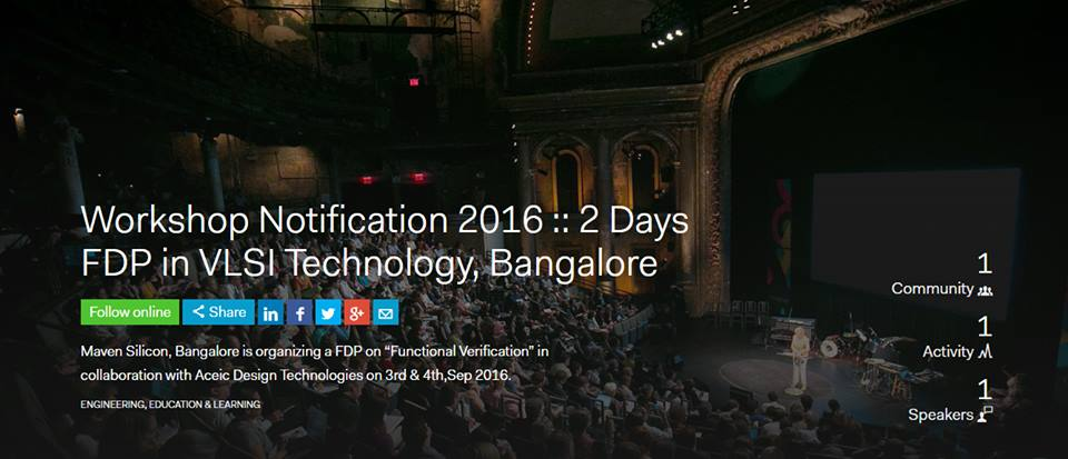 Workshop Notification 2016 :: 2 Days FDP in VLSI Technology, Bangalore