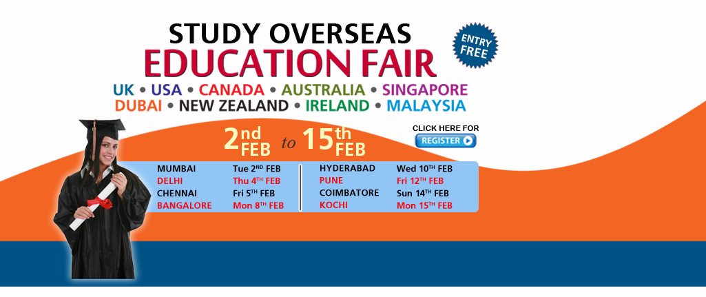 Study Overseas Education Fair in Delhi 4th Feb