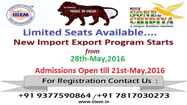 Admissions Open for Export Import Program