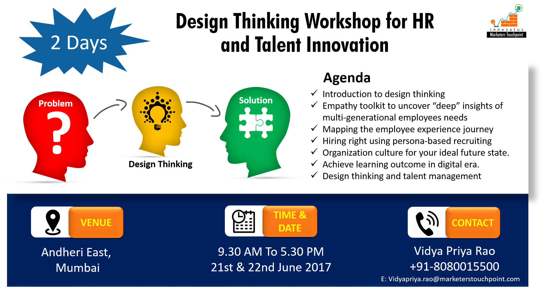 2 Day Design Thinking Workshop for HR and Talent Innovation