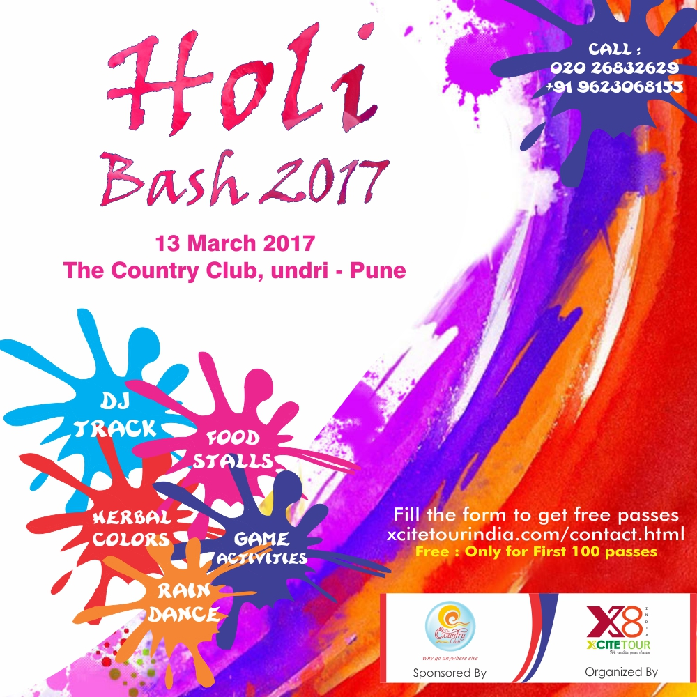 Holi Bash 2017 Presented By Xcite Tour India.
