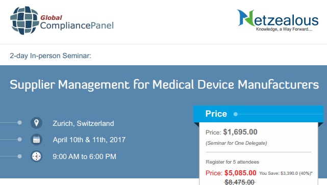 Supplier Management Conference for Medical Device Manufacturing in Switzerland