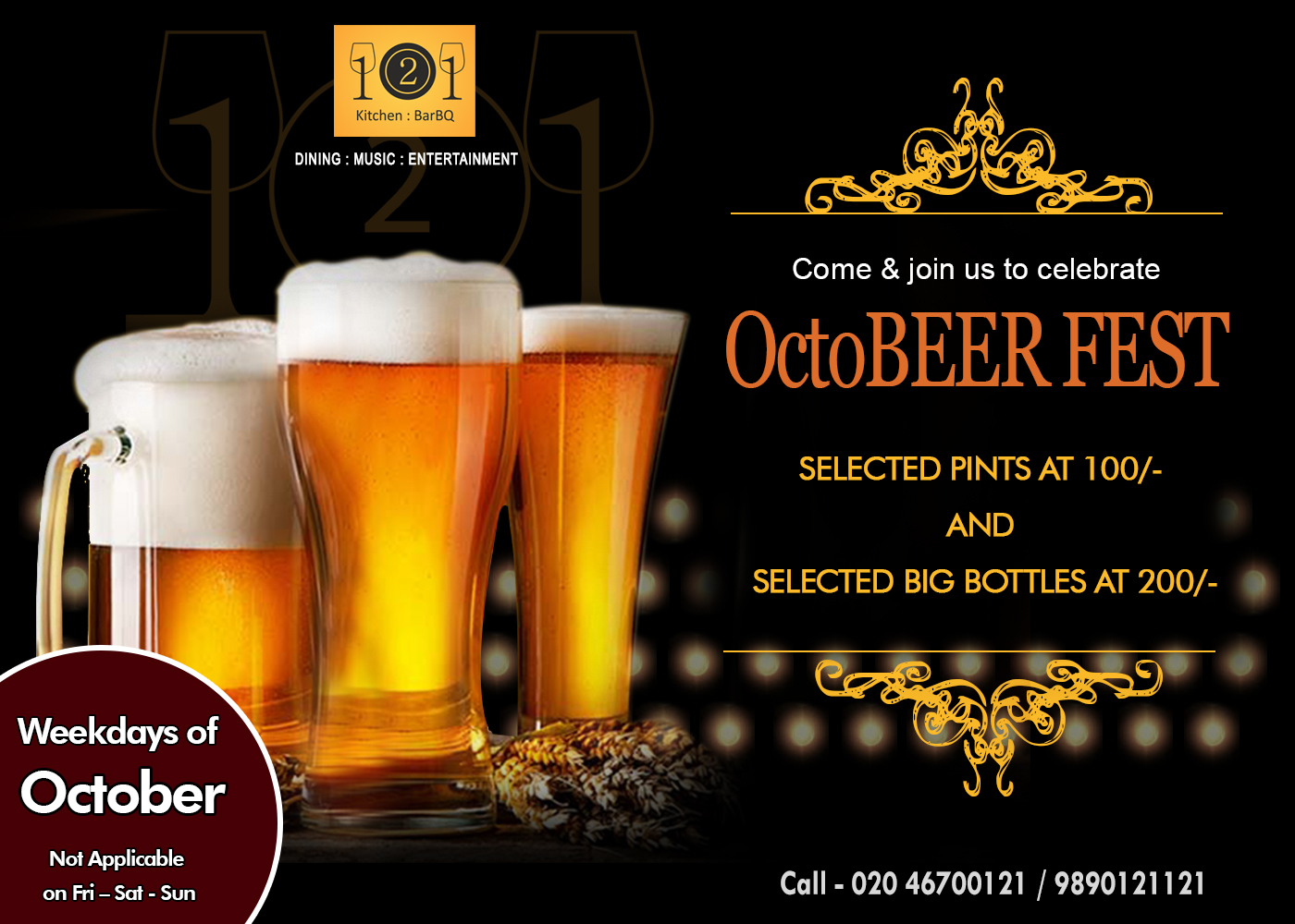 Pune Plan Beer Party at 121 Kitchen : BarBQ This October