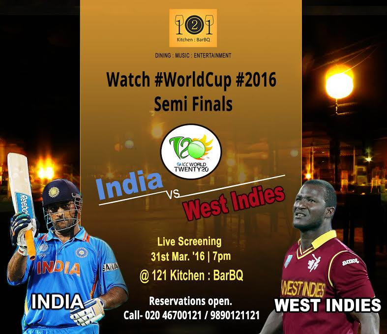 India vs West Indies T20 live screening in Wakad @121 Kitchen : BarBQ, Pune