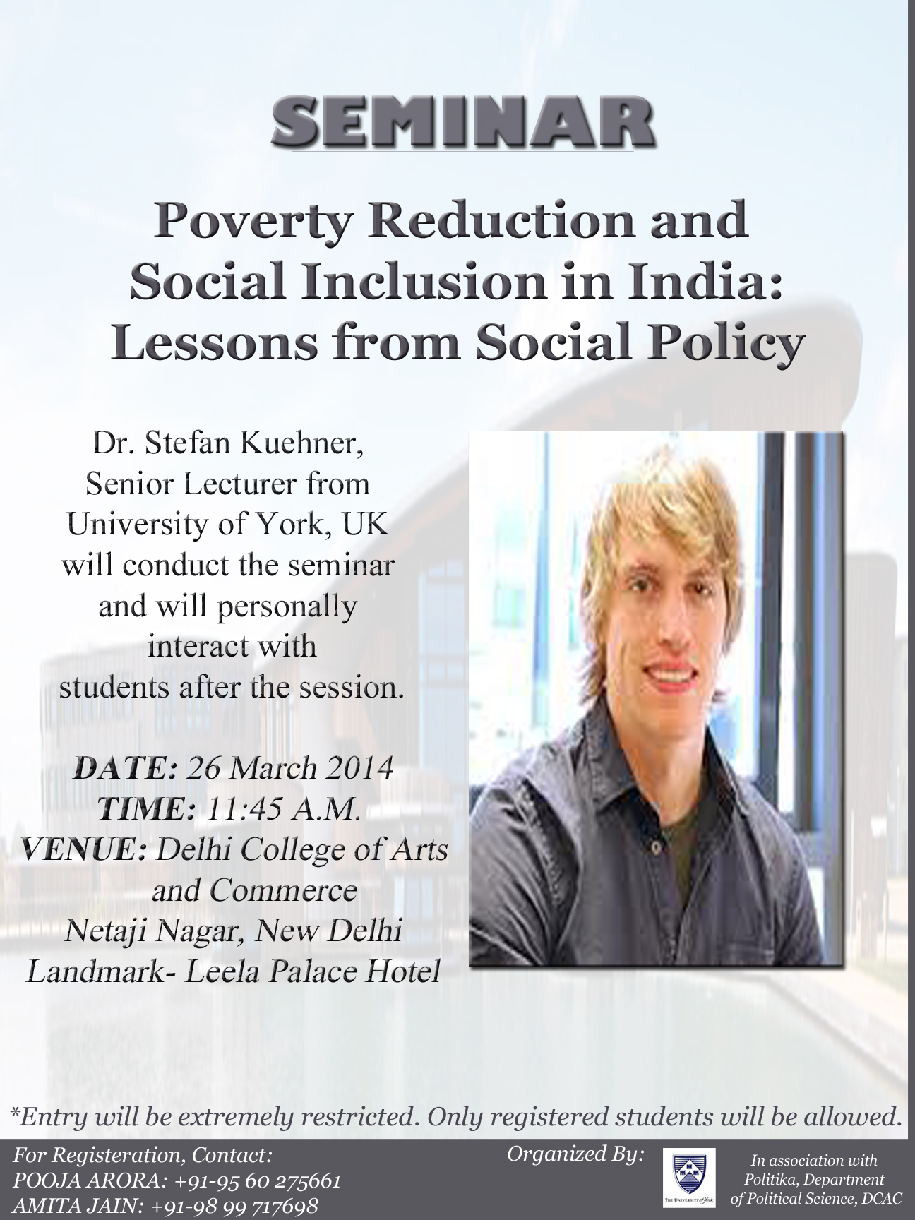 Seminar: Poverty Reduction and Social Inclusion in India: Lessons from Social Policy