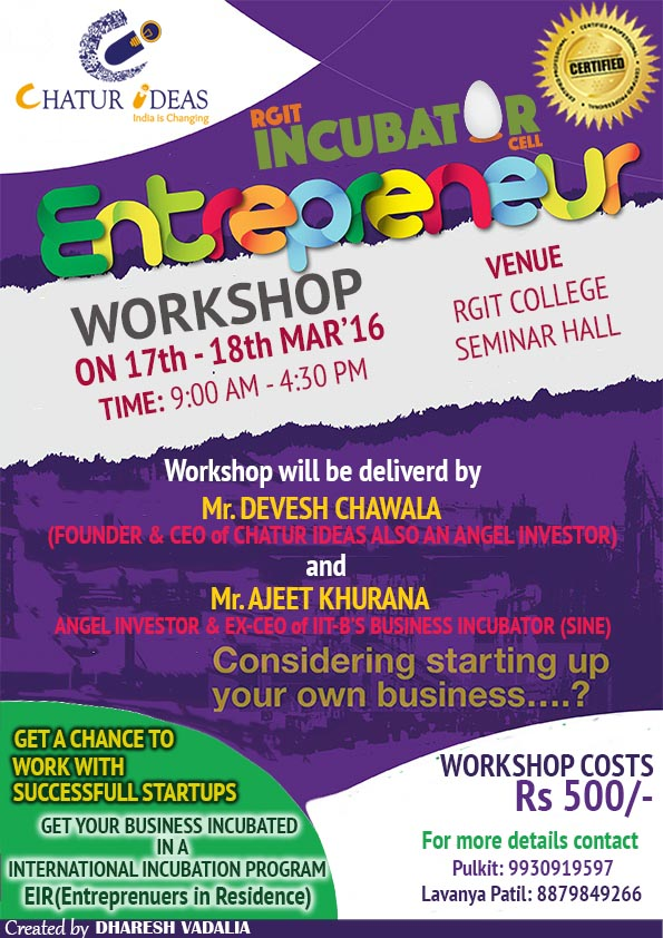 Entrepreneurship Workshop By Chatur Ideas