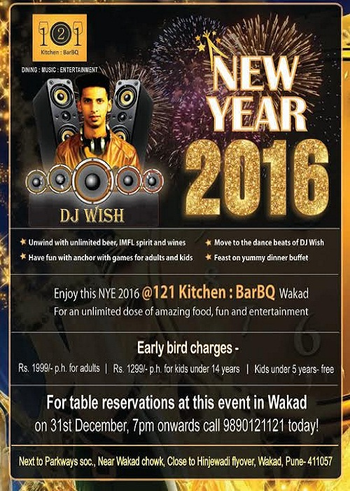 New Year's Eve bash in Wakad, Pune at 121 Kitchen : BarBQ