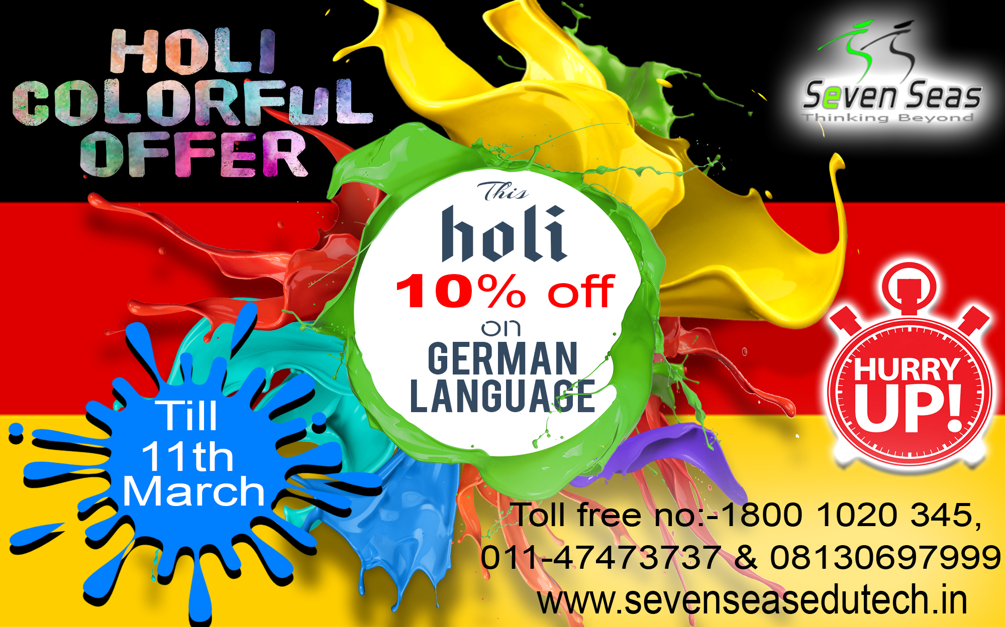 Get 10% Discount on Fees for Weekdays Classes For German Language in Delhi at Sevenseas Edutech