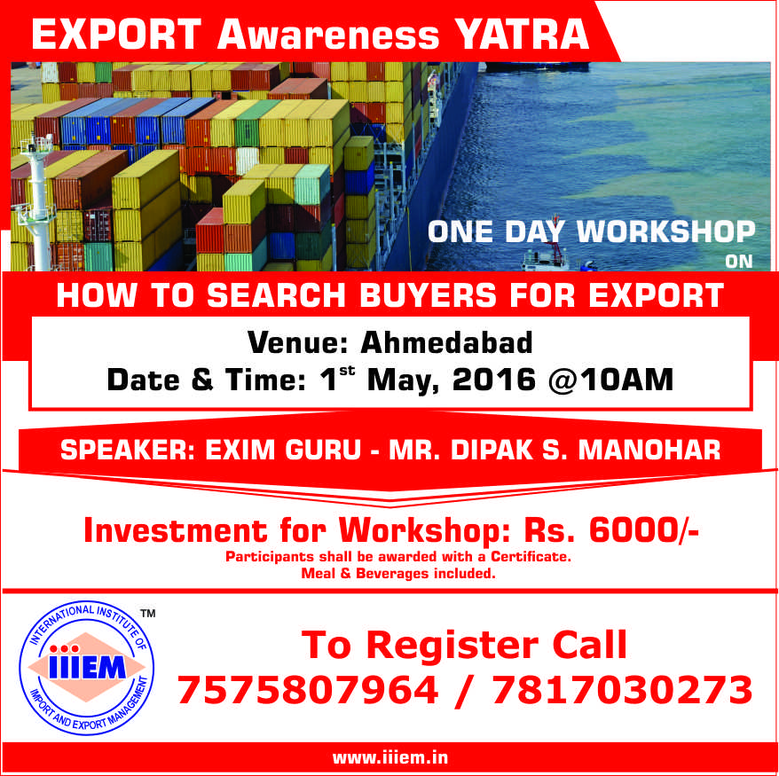 ONE DAY WORKSHOP ON HOW TO SEARCH BUYERS FOR EXPORTS