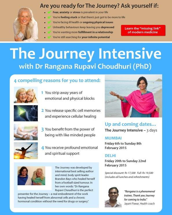 The Journey 3 day Intensive Seminars with Advanced Skills with Journey Presenter Dr Rangana Rupavi Choudhuri (PhD)
