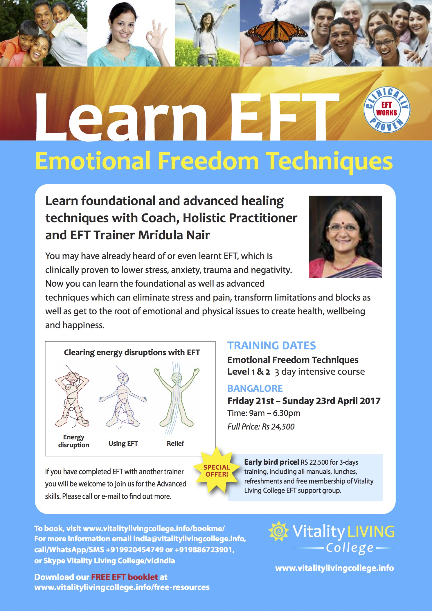 Emotional Freedom Techniques (EFT) Bangalore April 2017 with Vitality Living College Accredited Trainer Mridula Nair