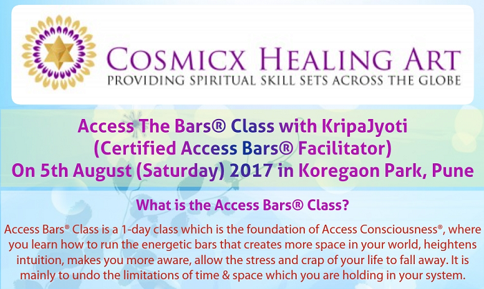 Access The Bars® Class With KripaJyoti (Certified Access Bars® Facilitator) On 5th August (Saturday) 2017 in Koregaon Park, Pune
